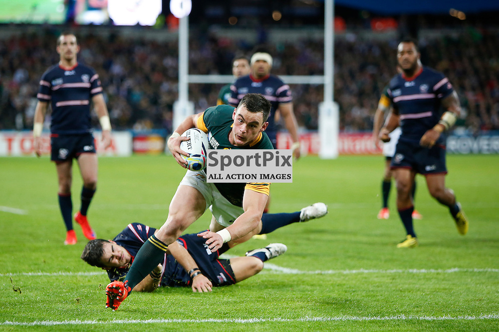 LONDON, ENGLAND - OCTOBER 7:  Jesse Kriel of South Africa scores during the 2015 Rugby World Cup Pool B match between South Africa and USA at The Stadium, Queen Elizabeth Olympic Park on October 7, 2015 in London, England. (Credit: SAM TODD | SportPix.org.uk)