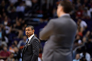 Mar 21, 2016; Phoenix, AZ, USA; Phoenix Suns head coach Earl Watson looks on during the game against the Memphis Grizzlies at Talking Stick Resort Arena. The Memphis Grizzlies won 103-97. Mandatory Credit: Jennifer Stewart-USA TODAY Sports