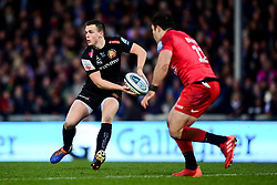 Joe Simmonds of Exeter Chiefs is marked by Brad Barritt of Saracens - Mandatory by-line: Ryan Hiscott/JMP - 29/12/2019 - RUGBY - Sandy Park - Exeter, England - Exeter Chiefs v Saracens - Gallagher Premiership Rugby