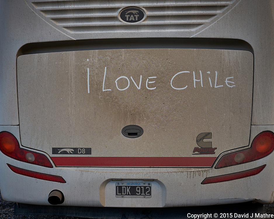 I Love Chile sign on the Argentina Bus in Torres del Paine National Park. Image taken with a Fuji X-T1 camera and 23 mm f/1.4 lens.