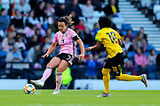 Rachel Corsie (#4) of Scotland plays a short pass during the International Friendly match between Scotland Women and Jamaica Women at Hampden Park, Glasgow, United Kingdom on 28 May 2019.