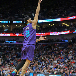 Mar 13, 2018; New Orleans, LA, USA; Charlotte Hornets guard Jeremy Lamb (3) shoots against the New Orleans Pelicans during the second quarter of a game at the Smoothie King Center. Mandatory Credit: Derick E. Hingle-USA TODAY Sports
