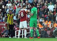 FOOTBALL - 2018 / 2019 Premier League - Arsenal vs. Watford<br /> <br /> Arsenal goalkeeper, Petr Cech passes the Captain's arm band to Aaron Ramsey as he leaves the field injured, at the Emirates<br /> <br /> COLORSPORT/ANDREW COWIE