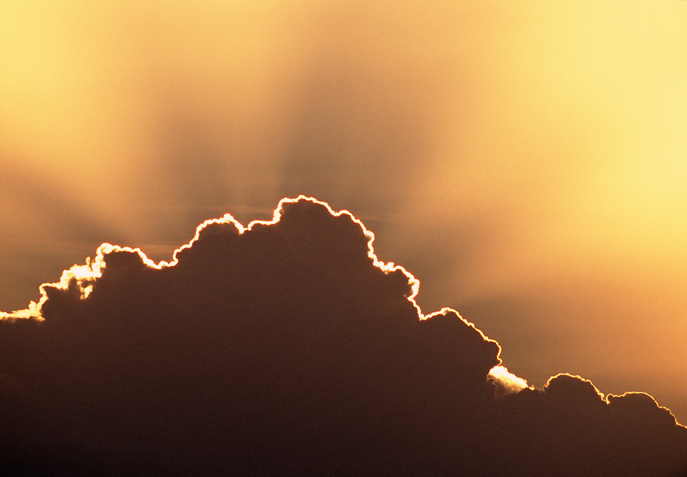 Cumulus cloud with crepuscular rays