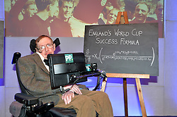 Professor Stephen Hawking reveals the findings of 'A Brief History of How England Can Win The World Cup' a study commissioned by Paddy Power at The Savoy, London, UK.<br /> <br /> Pictured is Professor Stephen Hawking and a formula of England's World Cup success.<br /> <br /> Wednesday, 28th May 2014. Picture by Ben Stevens / i-Images