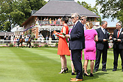 Sponsors in the Parade Ring judging the Best Turned Out prior to The Acturis Irish Stallion Farms EBF Novice Stakes over 5f (£15,000) during the John Smiths Cup Meeting at York Racecourse, York, United Kingdom on 12 July 2019.