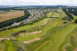 Aerial view of  Archerfield Links golf course near North Berwick in East Lothian, Scotland, UK