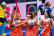 Carlien Dirkse van den Heuvel captain of the Netherlands (9) celebrates scoring a goal with team mates during the Vitality Hockey Women's World Cup 2018 Pool A match between the Netherlands and Italy at the Lee Valley Hockey and Tennis Centre, QE Olympic Park, United Kingdom on 29 July 2018. Picture by Martin Cole.