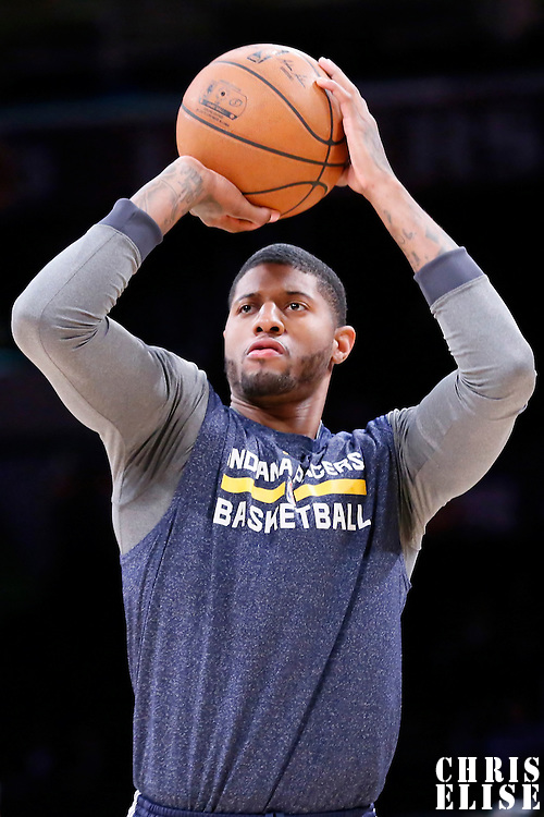 04 January 2014: Indiana Pacers forward Paul George (13) warms up prior to the game against the Los Angeles Lakers, at the Staples Center, Los Angeles, California, USA.