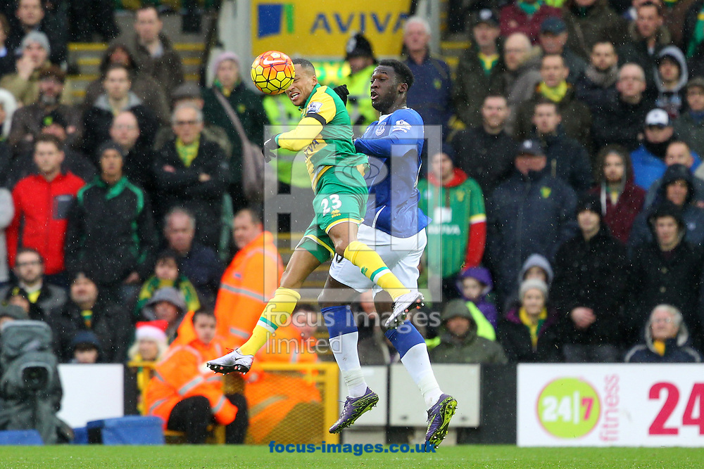 Martin Olsson of Norwich and Romelu Lukaku of Everton in action during the Barclays Premier League match at Carrow Road, Norwich<br /> Picture by Paul Chesterton/Focus Images Ltd +44 7904 640267<br /> 12/12/2015