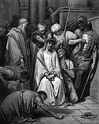 Christ mocked and the Crown of Thorns placed on his head. St John. From Gustave Dore's illustrated 'Bible', 1866. Wood engraving.