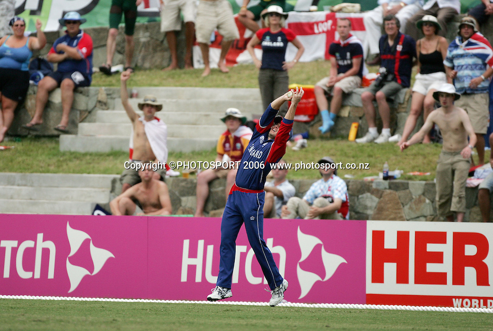 England's Ed Joyce takes a catch to dismiss Russell Arnold during the Super 8 Cricket World Cup match, England v Sri Lanka at the Sir Vivian Richards Cricket Ground in Antigua, West Indies on Wednesday 4 April 2007. Sri Lanka batted first and scored 235. Photo: Andrew Cornaga/PHOTOSPORT **NO AGENTS**<br /><br /><br />040407