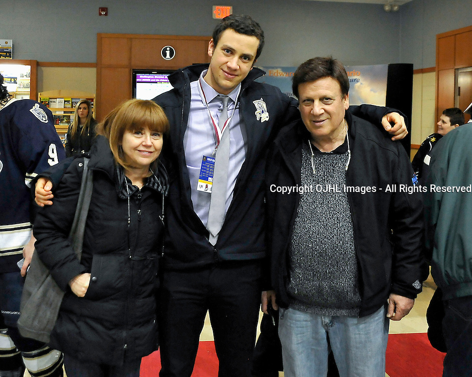 WELLINGTON, ON - May 3 : Dudley Hewitt Cup, Central Canadian Jr &quot;A&quot; Championship Game. Wellington Dukes vs. Toronto Lakeshore Patriots. Lior Goldenberg #20 of the Toronto Lakeshore Patriots with family.<br /> (Photo by Shawn Muir / OJHL Images)