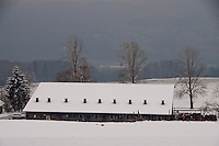 Wintry landscape with a picturesque, snow-covered barn as central theme in Bellikon, Switzerland.