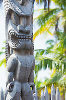 A Ki'i (wooden images) gaurdian at the Hale o Keawe at Pu'uhonua o Honaunau National Historical Park