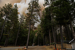 September 12, 2015 - Lake County, California Smoke and flames reaching the southern boundry of the Hoberg's Resort just prior to mandatory evacutation, employees working to save what they can.  (Kim Ringeisen / Polaris)
