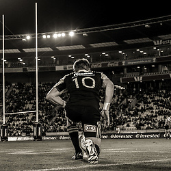 Beauden Barrett lines up a kick at goal during the Super Rugby match between the Hurricanes and Southern Kings at Westpac Stadium, Wellington, New Zealand on Friday, 25 March 2016. Photo: Dave Lintott / lintottphoto.co.nz