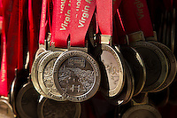 Preparation for the Virgin Money London Marathon 2014 at the finish line on Sunday 13 April 2014<br /> Photo: Dillon Bryden/Virgin Money London Marathon<br /> media@london-marathon.co.ukMedals ready for runners to collect for the Virgin Money London Marathon 2014 at the finish line on Sunday 13 April 2014<br /> Photo: Dillon Bryden/Virgin Money London Marathon<br /> media@london-marathon.co.uk