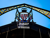 BARCELONA, SPAIN - CIRCA MAY 2018: Entrance Sign of La Boqueria. This is a large public market in the Ciudad Vieja district of Barcelona, Catalonia, Spain, and one of the city's foremost tourist landmarks.