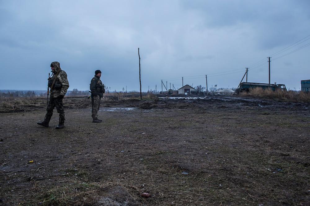 Ukrainian soldiers at an artillery depot on Monday, December 14, 2015 near Slovyansk, Ukraine.