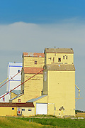 Old grain elevators on the Canadian Prairie<br /> Mossleigh<br /> Alberta<br /> Canada