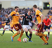 Dundees David Clarkson goes past Motherwell's Stephen McManus  - Motherwell v Dundee, SPFL Premiership at Fir Park<br /> <br />  - &copy; David Young - www.davidyoungphoto.co.uk - email: davidyoungphoto@gmail.com