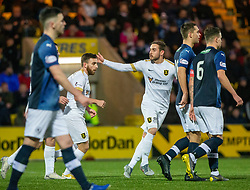 Livingston Steven Lawless cele scoring their first goal from a penalty. Livingston 3 v 1 Raith Rovers, William Hill Scottish Cup played 18/1/2020 at the Livingston home ground, Tony Macaroni Arena.