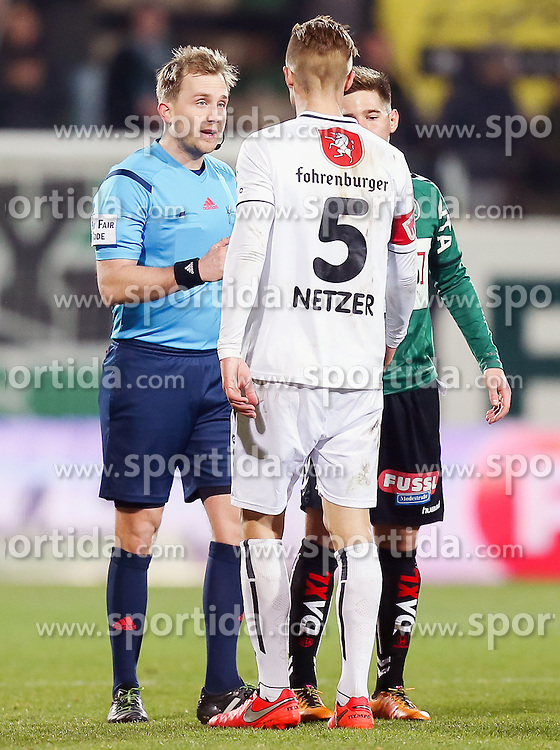12.03.2016, Keine Sorgen Arena, Ried, AUT, 1. FBL, SV Josko Ried vs SCR Altach, 27. Runde, im Bild v.l. Schiedsrichter Julian Weinberger, Philipp Netzer (Cashpoint SCR Altach), Michael Brandner (SV Josko Ried) // during the Austrian Football Bundesliga 27th Round match between SV Josko Ried and SCR Altach at the Keine Sorgen Arena in Ried, Austria on 2016/03/12. EXPA Pictures © 2016, PhotoCredit: EXPA/ Roland Hackl
