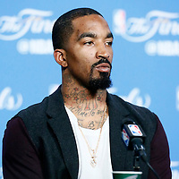 08 June 2016:  Cleveland Cavaliers guard J.R. Smith (5) is seen during the press conference following the Cleveland Cavaliers 120-90 victory over the Golden State Warriors, during Game Three of the 2016 NBA Finals at the Quicken Loans Arena, Cleveland, Ohio, USA.