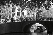 Canal and bridge. Amsterdam cityscape in Black and White