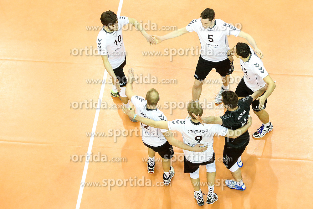 Players of Calcit Volleyball celebrate during volleyball match between Hypo Tirol Innsbruck and Calcit Kamnik in Semifinal of MEVZA Cup Men - Final Four, on March 11, 2016 in Hala Tivoli, Ljubljana, Slovenia. Photo by Morgan Kristan / Sportida