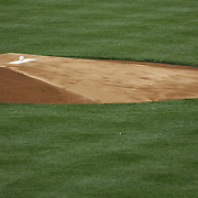 A game ball sits on the pitching mound before the start of the New York Yankees V New York Mets, Subway Series game at Yankee Stadium, The Bronx, New York. 12th May 2014. Photo Tim Clayton