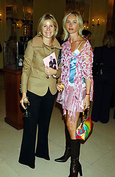 Left to right, VISCOUNTESS LINLEY and JO MANOUKIAN at a lunch and fashion show by Bruce Oldfield in aid of Barnados and held at Claridges, Brook Street, London W1 on 22nd September 2004.<br />
