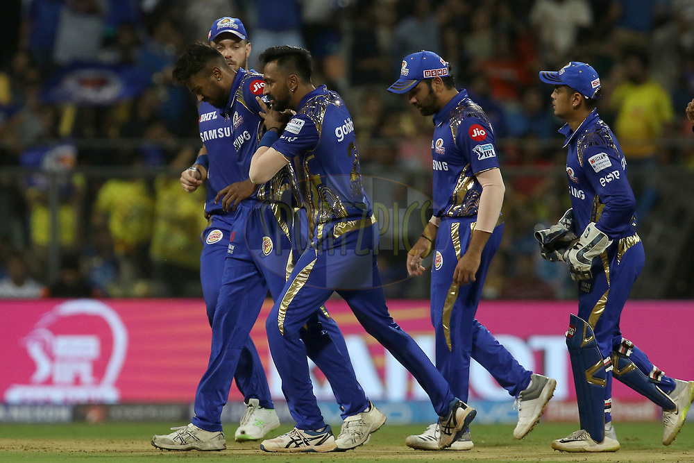 Hardik Pandya of the Mumbai Indians celebrates the wicket of Shane Watson of the Chennai Superkings  during match one of the Vivo Indian Premier League 2018 (IPL 2018) between the Mumbai Indians and the Chennai Super Kings held at the Wankhede Stadium in Mumbai on the 7th April 2018.<br /> <br /> Photo by Faheem Hussain / IPL / SPORTZPICS