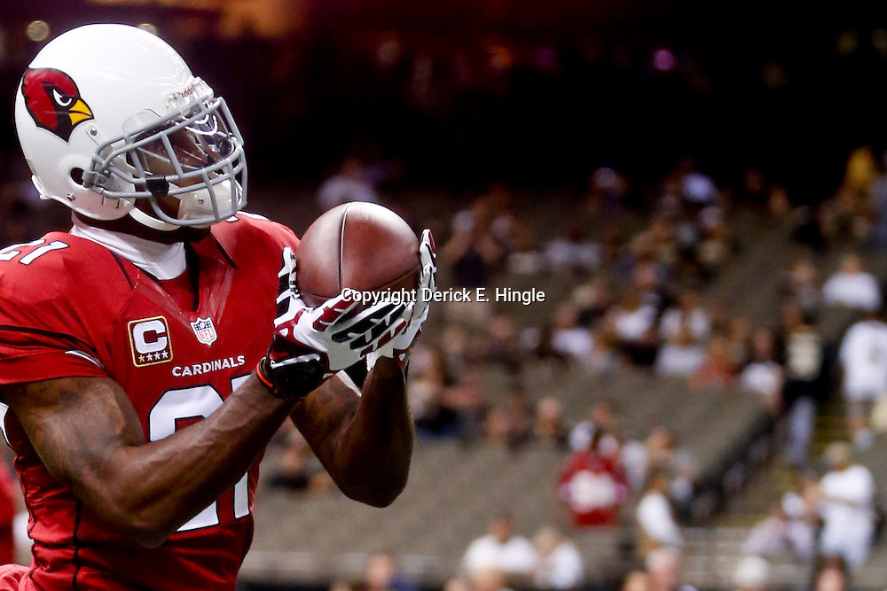 Sep 22, 2013; New Orleans, LA, USA; Arizona Cardinals cornerback Patrick Peterson (21) against the New Orleans Saints before a game at Mercedes-Benz Superdome. The Saints defeated the Cardinals 31-7. Mandatory Credit: Derick E. Hingle-USA TODAY Sports