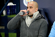 Manchester City Manager  Josep Guardiola during the Champions League round of 16, leg 2 of 2 match between Manchester City and FC Schalke 04 at the Etihad Stadium, Manchester, England on 12 March 2019.