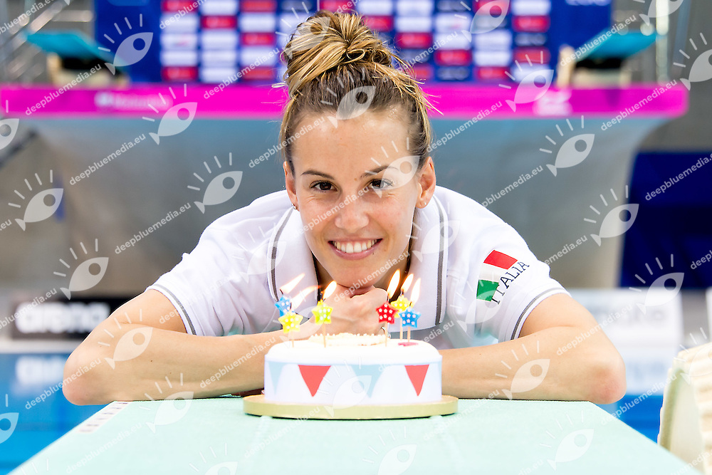 Tana Cagnotto is celebrating her 31st birthday<br /> London, Queen Elizabeth II Olympic Park Pool <br /> LEN 2016 European Aquatics Elite Championships <br /> Diving 3m springboard synchro women<br /> Day 06 13-05-2016<br /> Photo Giorgio Scala/Deepbluemedia/Insidefoto