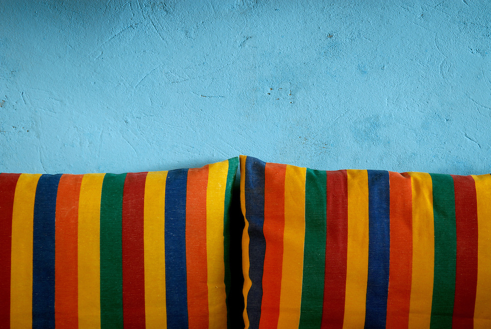 Egypt, Dahab. December/09/2008...Beach hut lounge colors.