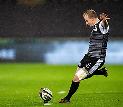 Luke Price of Ospreys kicks a penalty<br /> <br /> Photographer Simon King/Replay Images<br /> <br /> Guinness PRO14 Round 6 - Ospreys v Connacht - Saturday 2nd November 2019 - Liberty Stadium - Swansea<br /> <br /> World Copyright © Replay Images . All rights reserved. info@replayimages.co.uk - http://replayimages.co.uk