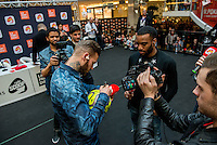 LYON, FRANCE - FEBRUARY 11: French singer Matt Pokora and footballer Alexandre Lacazette of Lyon attend public showcase organized by Radio Scoop at Part-Dieu shopping center11, 2015 in Lyon, France. (Photo by Bruno Vigneron/Getty Images)