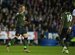 READING, ENGLAND - Tuesday, September 22, 2015: Everton's Ross Barkley celebrates winning scoring the second goal against Reading during the Football League Cup 3rd Round match at the Madejski Stadium. (Pic by David Rawcliffe/Propaganda)