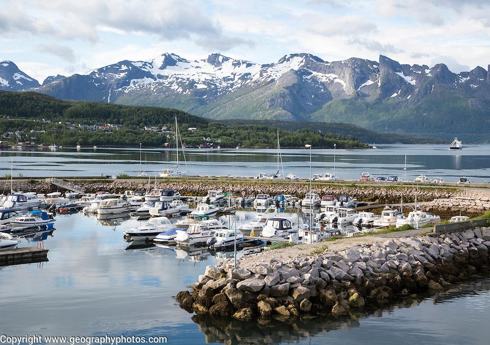 Boats moored in marina Ornes, Nordland, Norway