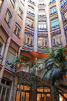 The central courtyard of the Antoni Gaudi designed Casa Mila in central Barcelona, Spain