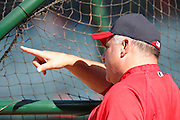 ANAHEIM, CA - APRIL  23:  Team manager Mike Scioscia #14 of the Los Angeles Angels of Anaheim points during batting practice before the game between the Boston Red Sox and the Los Angeles Angels of Anaheim on Saturday, April 23, 2011 at Angel Stadium in Anaheim, California. The Red Sox won the game in a 5-0 shutout. (Photo by Paul Spinelli/MLB Photos via Getty Images) *** Local Caption *** Mike Scioscia