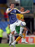 Cardiff - Saturday August 23rd, 2008: Ross McCormack of Cardiff City and Ryan Bertrand of Norwich City during the Coca Cola Championship match at The Ninian Park, Cardiff. (Pic by Paul Hollands/Focus Images)