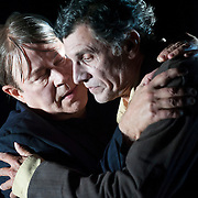 October 3, 2012 - Brooklyn, NY : Serge Maggiani, right, and Hugues Quester perform in a technical rehearsal of the Théâtre de la Ville's production of French-Romanian playwright Eugène Ionesco's 1959 play 'Rhinocéros' at BAM in Brooklyn on Wednesday night. The traveling production will perform from Oct. 4-6, 2012. CREDIT: Karsten Moran for The New York Times