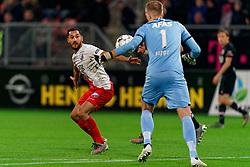 23-11-2019 NED: FC Utrecht - AZ Alkmaar, Utrecht<br /> Round 14 / Marco Bizot #1 of AZ Alkmaar, Mark van der Maarel #2 of FC Utrecht