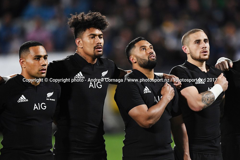 L_R  Ngani Laumape, Ardie Savea, Lima Sopoaga and TJ Perenara.<br /> Rugby Championship test match rugby union. New Zealand All Blacks v Argentina Los Pumas, Yarrow Stadium, New Plymouth. New Zealand. Saturday 9 September 2017. &copy; Copyright photo: Andrew Cornaga / www.Photosport.nz