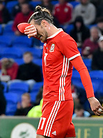 Football - 2019 / 2020 International Friendly - Wales vs. Belarus<br /> <br /> Gareth Bale of Wales after missing a shot at goal , at Cardiff City Stadium.<br /> <br /> COLORSPORT/WINSTON BYNORTH
