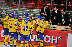 11.05.2012, Ericsson Globe, Stockholm, SWE, IIHF, Eishockey WM, Russland (RUS) vs Schweden (SWE), im Bild, Sweden bench // during the IIHF Icehockey World Championship Game between Russia (RUS) and Sweden (SWE) at the Ericsson Globe, Stockholm, Sweden on 2012/05/11. EXPA Pictures © 2012, PhotoCredit: EXPA/ PicAgency Skycam/ Simone Syversson..***** ATTENTION - OUT OF SWE *****